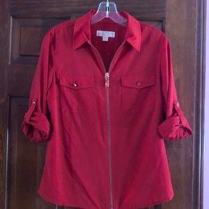 Michael Kors Red full zip blouse